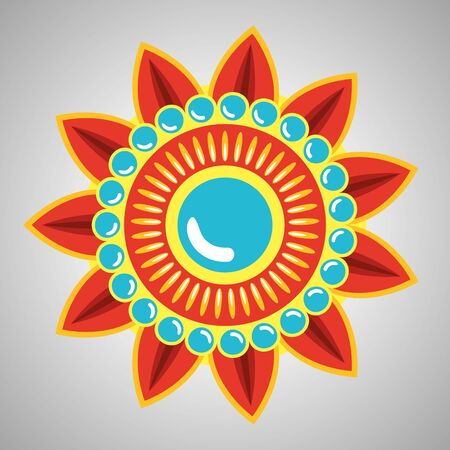 tradional hindu flower with petals and poinsts to event celebration, vector illustration 스톡 콘텐츠 - 135561946