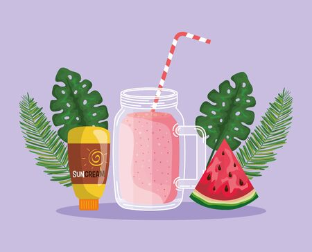 watermelon fruit with smoothie beverage and suncream with leaves to summer time vector illustration