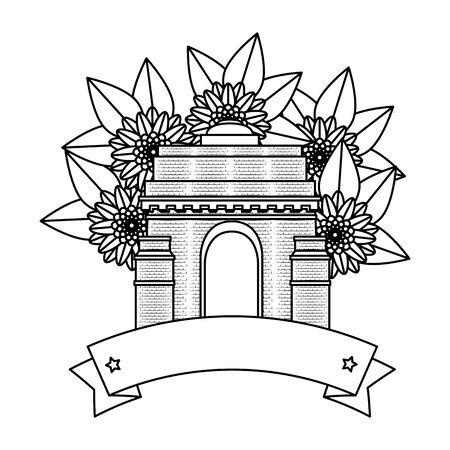 indian gate arch monument with carnations vector illustration design