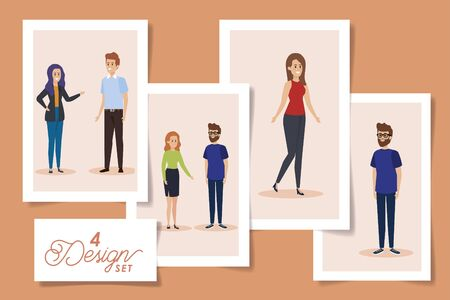 set four designs of young people vector illustration design 向量圖像
