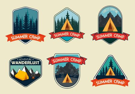 set of labels with wanderlust adventure with camping and hiking vector illustration