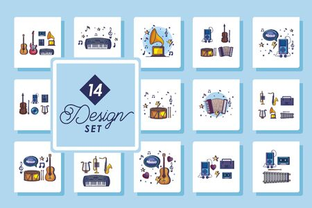 set fourteen designs of music instruments and icons vector illustration design