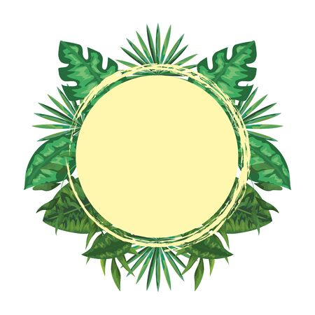 exotic and tropical leafs with branches circular frame vector illustration design