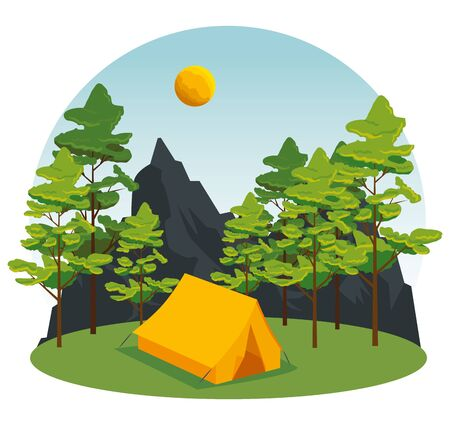 wanderlust with trees and mountains to camp landscape vector illustration