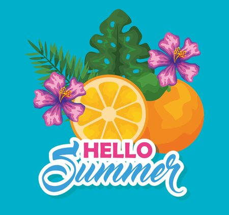 orange fruit with exotic flowers and leaves to summer time vector illustration Illusztráció