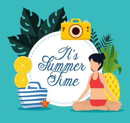 label of summer time with woman sitting with swimsuit and fruits and tropical leaves plants vector illustration Illusztráció
