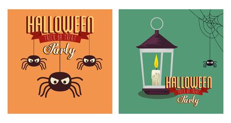 set of poster halloween with spiders and lamp vector illustration design