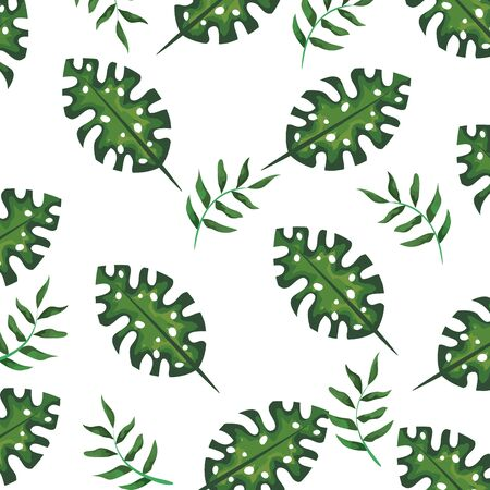 exotic and tropical leafs plant pattern vector illustration design