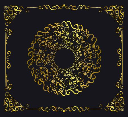 elegant golden ornamental frame icons vector illustration design