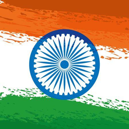ashoka chakra indian with flag painted vector illustration design