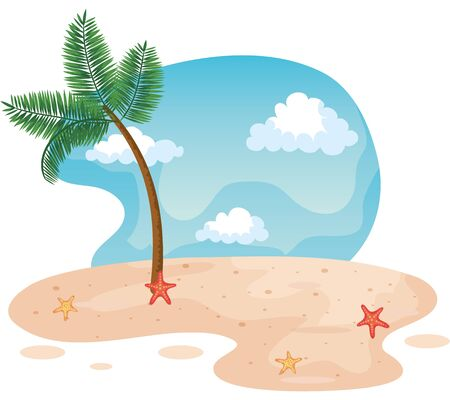 palm tree in the beach with starfishes in the sand to summer time vector illustration Illusztráció