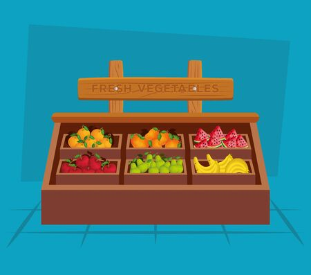 healthy fruits and vegetables fresh nutrition to natural store, vector illustration Çizim