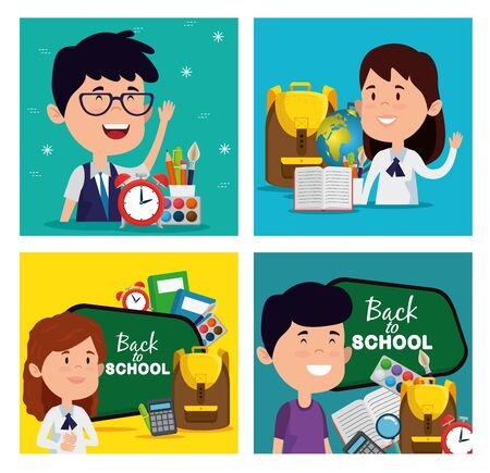 set of boys with girls students with education supplies to back to school vector illustration