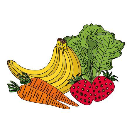 group of fresh fruits and vegetables vector illustration design