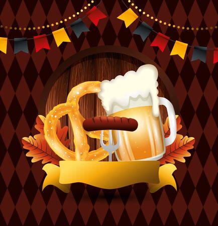 Oktoberfest beer design, Germany festival celebration europe landmark munich culture and party theme Vector illustration Illusztráció