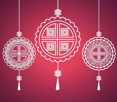 decoratiefiguren die over roze achtergrond hangen tot medio herfstfestival, vectorillustratie