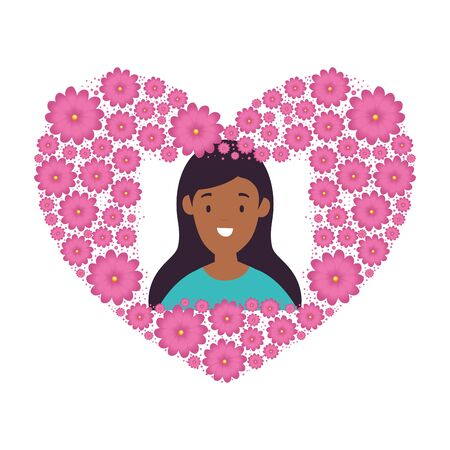 head woman afro in heart shape frame of flowers vector illustration design