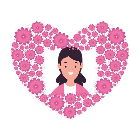 head woman in heart shape frame of flowers vector illustration design