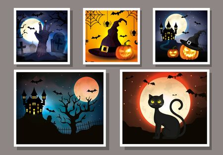 set cards with halloween scenes vector illustration design Ilustracja