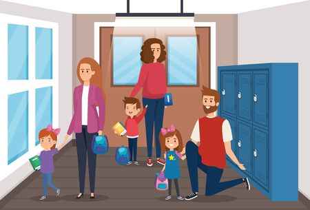 mothers and father with girls and boy with backpack in the classroom vector illustration