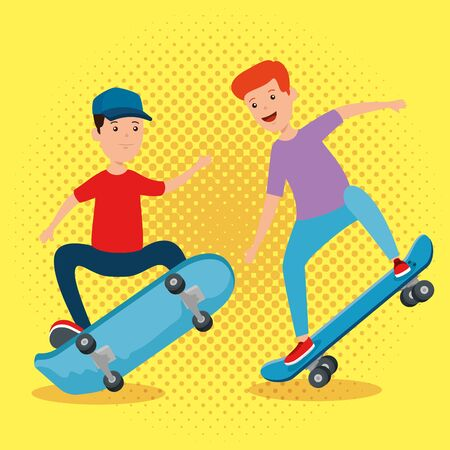 happy boys kids playing skateboard over yellow background vector illustration