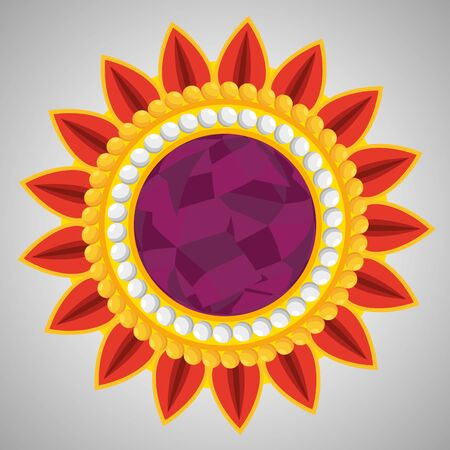 hindu flower with petals and traditional design to event celebration, vector illustration