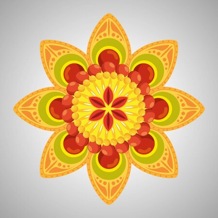 hindu flower with petals decoration tradition to event celebration, vector illustration