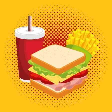 sandwich combo with soda vector illustration graphic design
