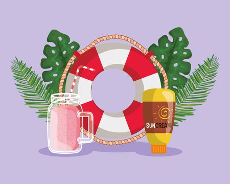 float with smoothie beverage and suncream with leaves plants to summer time vector illustration