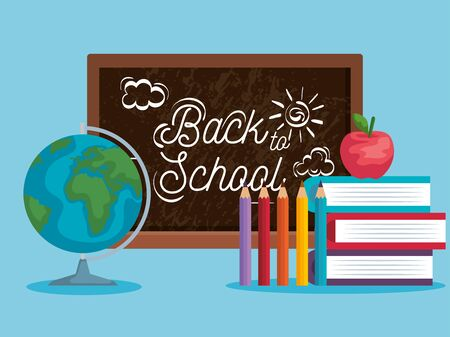 blackboard with pencils colors and books with apple fruit to back to school vector illustration