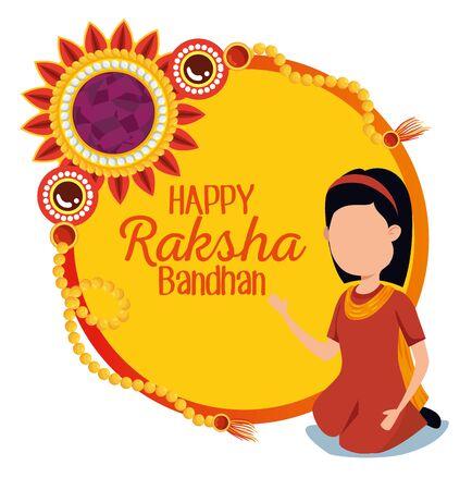 label of raksha bandhan traditional celebration with hindu girl and flower, vector illustration