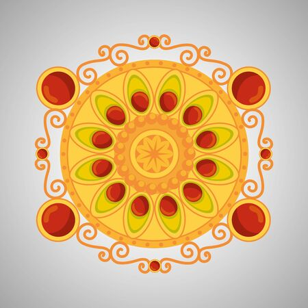 hindu flower decoration with traditional design to event celebration, vector illustration