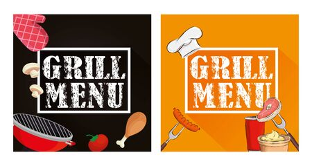 set poster of grill menu with delicious food vector illustration design