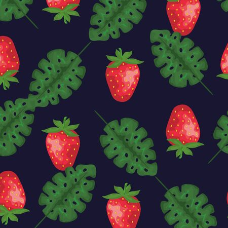 strawberry fruits and leaves plants background to summer banner vector illustration 向量圖像