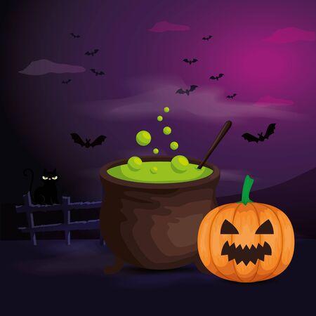 pumpkin with cauldron in scene halloween vector illustration design