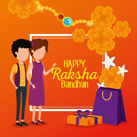 raksha bandhan poster traditional decoration with siblings and presents with bracelet, vector illustration