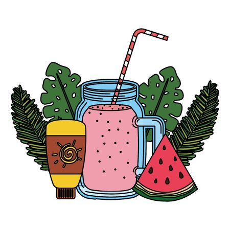 juice watermelon fruit jar with blocker solar vector illustration design