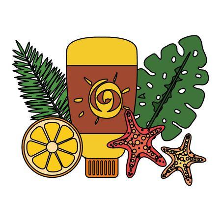 solar blocker bottle product with leafs and orange vector illustration design