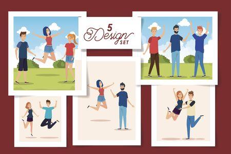 set of five designs teenager group celebrating vector illustration design 向量圖像