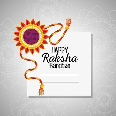 card of flower hindu traditional bracelet to raksha bandhan, vector illustration
