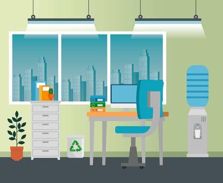 ufficio con tecnologia informatica e libri nell'archivio per ufficio commerciale, illustrazione vettoriale
