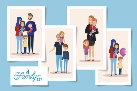 set four designs of parents and sons vector illustration design Иллюстрация