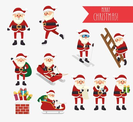 bundle christmas with santa claus and icons vector illustration design
