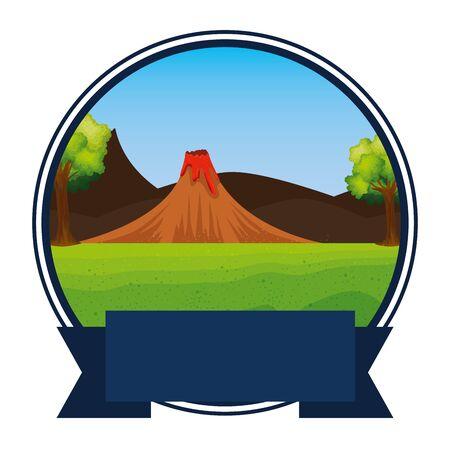 kreisförmiger Rahmen Jurassic Landschaft und Vulkanszene Vector Illustration Design