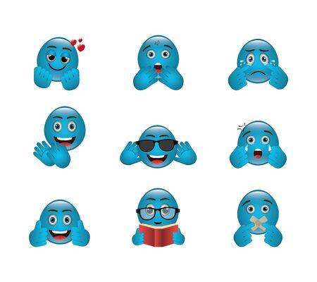 bundle of emoticons with expressions vector illustration design Vector Illustration