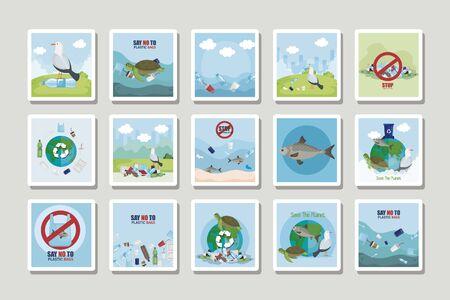 bundle labels of say no to plastic bag and icons vector illustration design Vektoros illusztráció