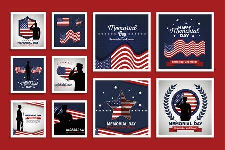design set of happy memorial day vector illustration design