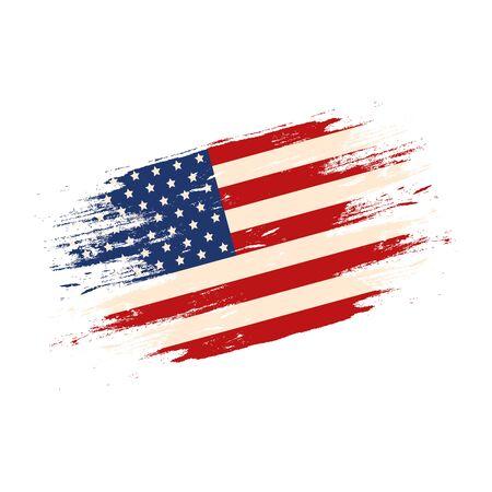 flaga stanów zjednoczonych na białym tle ikona wektor ilustracja projekt Ilustracje wektorowe