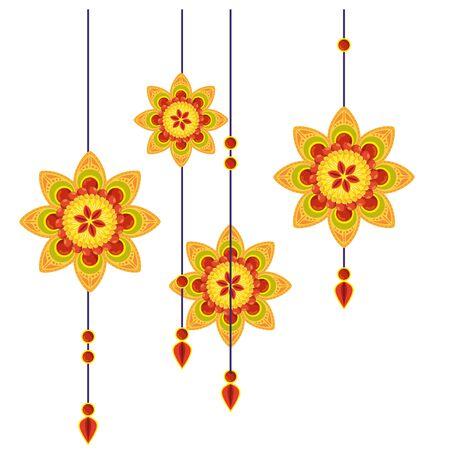 decorative mandalas hanging ethnic boho style vector illustration design