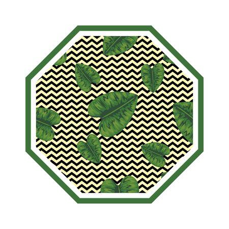 rhombus in straw with leafs vector illustration design Ilustração